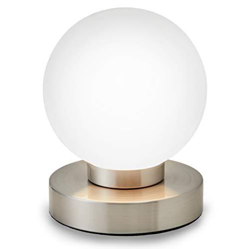 B.K.Licht Lampada da comodino, forma a sfera, interruttore touch, luce da tavolo, abat-jour dimmerabile, metallo cromato e vetro bianco, 25W, attacco per lampadina E14 alogena (non incusa)