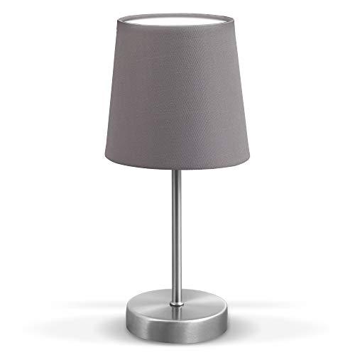 B.K.Licht Lampada da comodino, Lampada da tavolo con paralume in tessuto grigio, adatta per lampadina E14 non inclusa max 25W, altezza 30.8cm, abat-jour per camera con interruttore sul filo, IP20