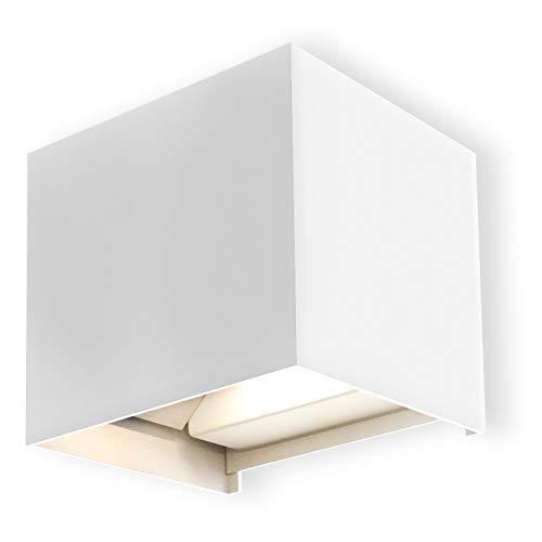 B.K.Licht Lampada da parete a LED con angolo di diffusione regolabile, Luce bianca neutra 4000K, Applique LED per esterni IP44, Illuminazione da parete, quadrata, bianca, LED integrati 600 Lm, 230V