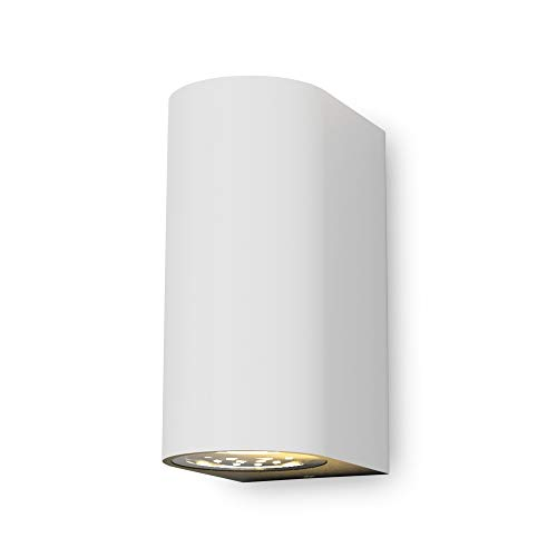 B.K.Licht Lampada da parete LED, applique per esterni, include 2 lampadine GU10 da 5W, plafoniera da parete per interni, luce calda 3000K, 800Lm, lampada a muro in metallo bianca, IP44