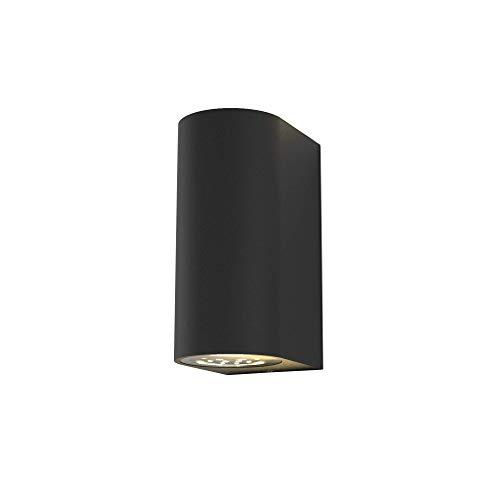 B.K.Licht Lampada da parete LED, applique per esterni, include 2 lampadine GU10 da 5W, plafoniera da parete per interni, luce calda 3000K, 800Lm, lampada a muro in metallo nera IP44