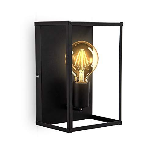B.K.Licht Lampada da parete o soffitto, attacco per lampadina E27 non inclusa, Plafoniera in metallo nero opaco, 262x172x140 mm, applique rettangolare con 1 punto luce per corridoio o entrata