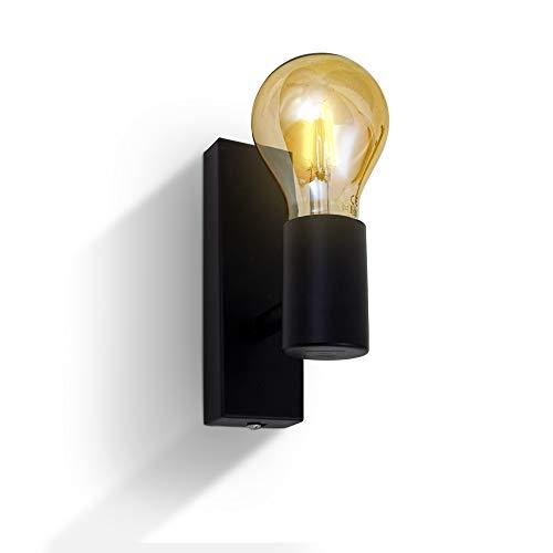B.K.Licht Lampada da parete orientabile in metallo nero, adatta per 1 lampadina E27 non inclusa max. 60W, applique da muro per salotto o sala, faretto stile industriale per entrata o scale IP20