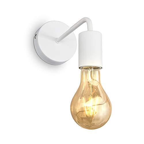 B.K.Licht Lampada da parete retrò, lampadina E27 non inclusa, applique vintage, lampada da lettura per ambienti moderni o dal design industriale, metallo bianco, IP20