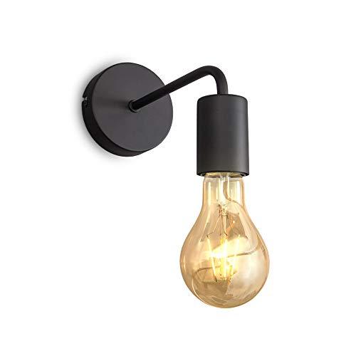 B.K.Licht Lampada da parete retrò, lampadina E27 non inclusa, applique vintage, lampada da lettura per ambienti moderni o dal design industriale, metallo nero, IP20