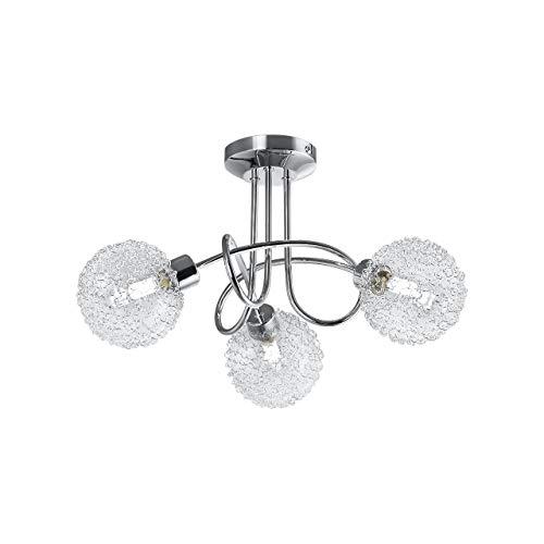 B.K.Licht Lampada da soffitto a LED per soggiorno o salotto con 3 faretti I plafoniera moderna fantasia a braccia intrecciate con motivo a filo di ferro I include 3 lampadine G9 da 3,5W 230V IP20
