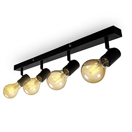 B.K.Licht Lampada da soffitto con 4 faretti orientabili, adatta per 4 lampadine E27 non incluse max 60W, metallo nero, plafoniera per salotto, lampadario stile industriale contemporaneo per camera