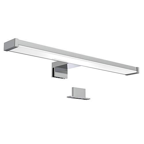 B.K.Licht Lampada da specchio LED, luce bianca neutra 4000K, larghezza 40 cm, LED integrati 7W, 600Lm, lampada per bagno, illuminazione pensile bagno, luce per il trucco, plastica, IP44, 230V