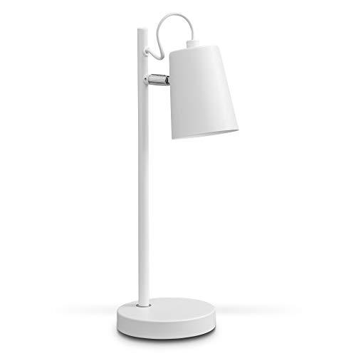 B.K.Licht Lampada da tavolo bianca, Lampada da comodino, adatta per lampadina E14 non inclusa max 20W, H 36.5cm, paralume orientabile, abat-jour per camera, lampada da scrivania in metallo IP20, 230V