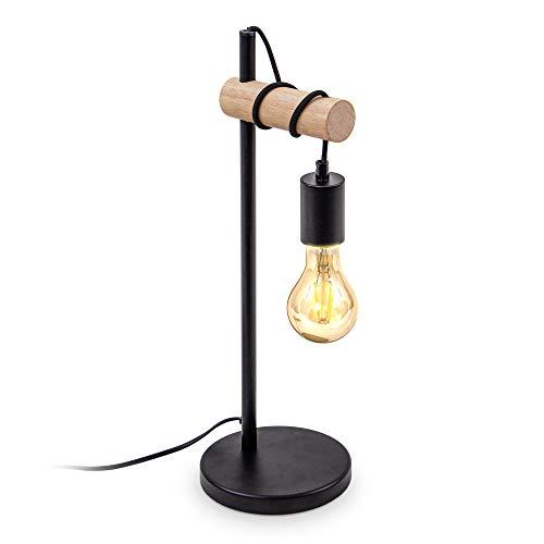 B.K.Licht, Lampada da tavolo in metallo nero e legno, lampadina E27 non inclusa, lampada da comodino vintage, lampada da scrivania dal design industriale, ideale per ambienti rustici e moderni, IP20