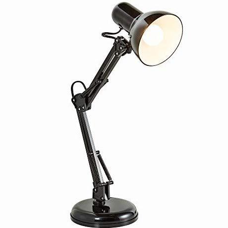 B.K.Licht Lampada da tavolo retro, interruttore on off, luce orientabile, lampada da scrivania classica per l'illuminazione da interno, corpo metallo, color nero, attacco lampadina E14 (non inclusa)