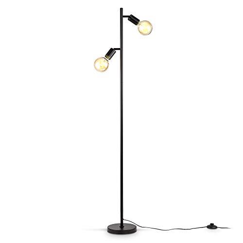 B.K.Licht Lampada da terra con 2 punti luce, piantana con portalampada orientabili, adatta per 2 lampadine E27 non incluse, Lampada a stelo per soggiorno, Interruttore a pedale, Metallo nero