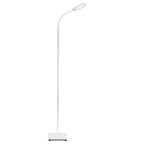 B.K.Licht Lampada da terra LED, piantana dimmerabile su 4 livelli, luce calda neutra o fredda, altezza d'uso 1,28m, LED integrati 8W, 600Lm, orientabile, lampada a stelo touch moderna, bianca IP20