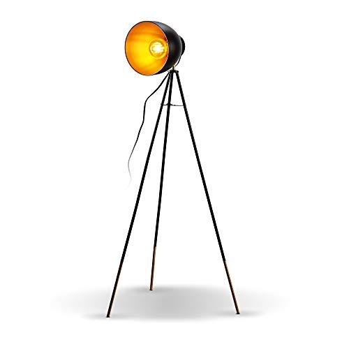 B.K.Licht Lampada da terra vintage industriale, piantana elegante retrò con paralume orientabile, adatta per lampadina E27 non inclusa, alta 136cm, lampada a stelo nero e oro, interruttore a pedale
