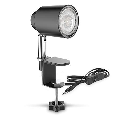 B.K.Licht Lampada LED da tavolo con morsetto, include lampadina GU10 5W, luce calda, orientabile, interruttore a levetta, lampada piccola da comodino o scrivania, metallo nero opaco