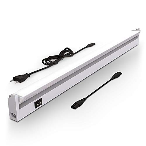 B.K.Licht Lampada sottopensile cucina LED, Luce bianca neutra o calda, LED integrati 6,8W, Lunga 55.7cm, orientabile, interruttore on off, plastica color argento, 230V IP20