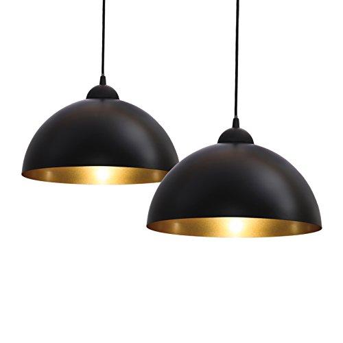 B.K.Licht Lampadari a sospensione vintage industriale, set da 2, diametro 30cm, adatti per lampadine LED E27 non incluse, lampada da soffitto per sala da pranzo, metallo nero esterno, oro interno IP20