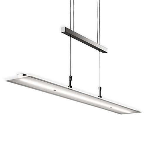 B.K.Licht Lampadario LED a sospensione, luce dimmerabile, lampada da soffitto regolabile in altezza per cucina, luce calda, metallo color nickel opaco e vetro, 1 luce LED integrata 20W I 230V I IP20