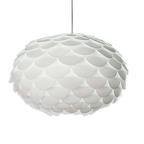 B.K.Licht Lampadario moderno, lampada a sospensione per sala da pranzo, lampada da soffitto in plastica per camera da letto e cameretta, bianca, adatta per lampadina LED E27 non inclusa, 230V IP20