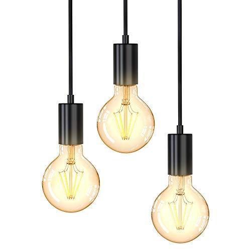 B.K.Licht Lampadario vintage, adatto per 3 lampadine E27 non incluse, altezza totale 1.2 m, Lampada a sospensione per sala da pranzo o cucina, Lampada da soffitto, luci a diverse altezze, nero opaco