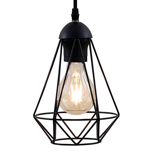 B.K.Licht Lampadario vintage, adatto per lampadina E27 non inclusa max 40W, metallo nero, altezza totale 1,1m, lampada a sospensione per sala da pranzo, lampada da soffitto stile industriale, IP20