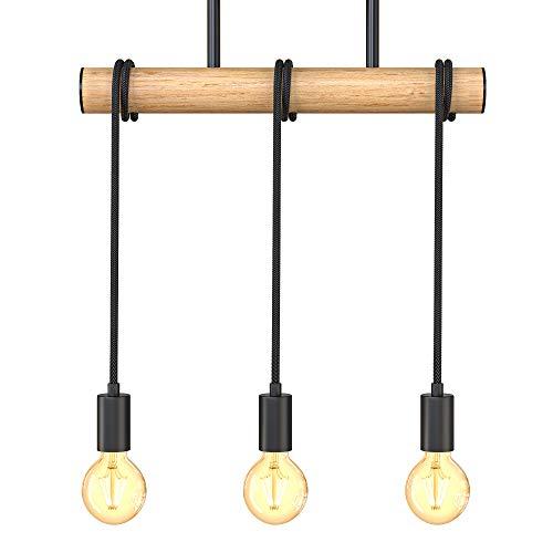 B.K.Licht Lampadario vintage in legno e metallo nero, adatto per 3 lampadine E27 non incluse max 60W, lampada a sospensione retrò per cucina o salotto