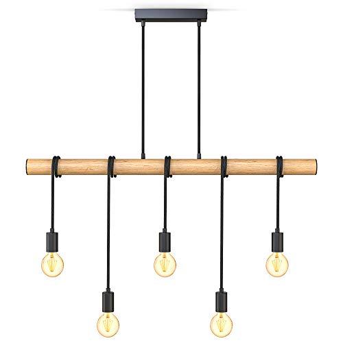B.K.Licht Lampadario vintage in legno e metallo nero, adatto per 5 lampadine E27 non incluse max 60W, lampada a sospensione retrò per cucina o sala da pranzo