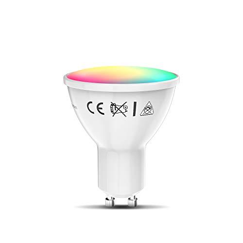 B.K.Licht Lampadina LED smart RGB GU10, luce calda fredda colorata, dimmerabile con App smartphone, adatta al controllo vocale Amazon Alexa, Google Home, lampadina Wi-Fi, 5.5W 350Lm, attacco GU10