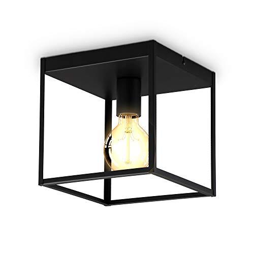 B.K.Licht Plafoniera a cubo con 1 punto luce, attacco per lampadina E27 non inclusa, lampada da soffitto in metallo nero opaco, lato 22cm