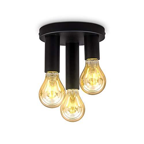 B.K.Licht Plafoniera con 3 punti luce, attacco per lampadine E27 non incluse, Ø19x16,5cm, lampada da soffitto vintage, Faretti da soffitto in metallo nero opaco per ingresso IP20