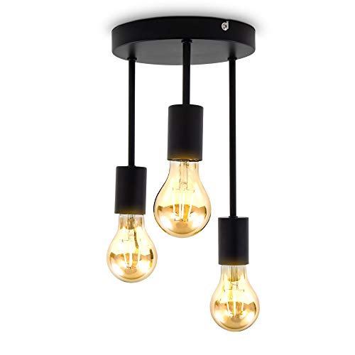 B.K.Licht Plafoniera con 3 punti luce, attacco per lampadine E27 non incluse, Ø19x31cm, lampada da soffitto vintage, Faretti da soffitto in metallo nero opaco per ingresso IP20