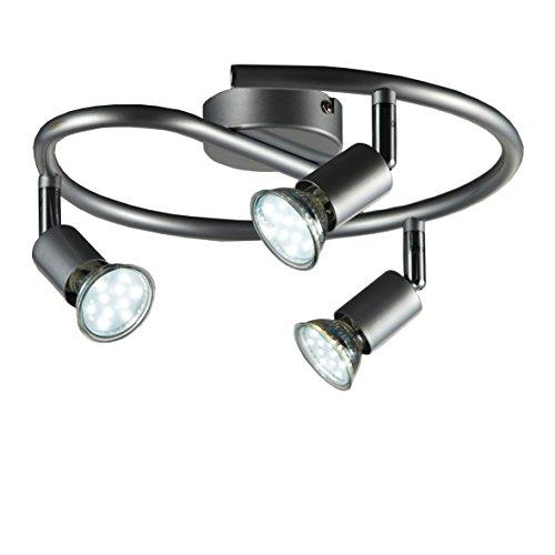 B.K.Licht Plafoniera con faretti LED da soffitto orientabili, luce calda, include 3 lampadine GU10 da 3W, lampada moderna da soffitto per cucina, salotto, metallo color titanio, 230V IP20