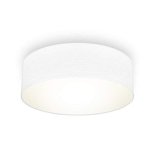 B.K.Licht Plafoniera in tessuto bianco, attacco per lampadina E27 non inclusa, Lampada da soffitto diametro 30cm, Lampadario moderno per salotto o camera da letto, IP20