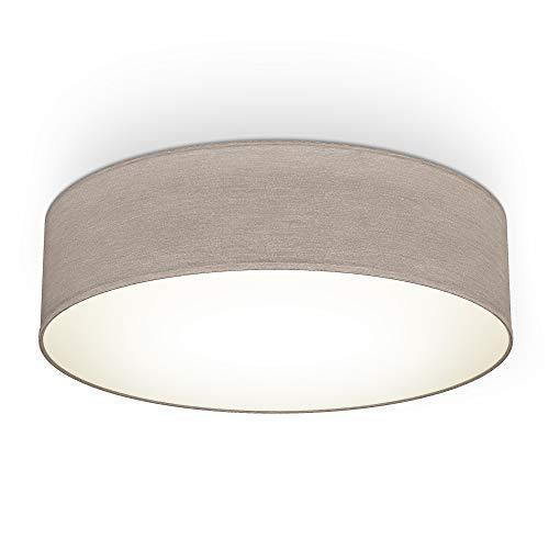 B.K.Licht Plafoniera in tessuto, Lampada da soffitto diametro 38cm, color grigio-talpa, attacco per 2 lampadine E27 non incluse, Lampadario moderno per salotto o camera da letto, IP20