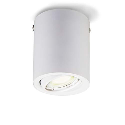 B.K.Licht Plafoniera Led con lampadina GU10 inclusa orientabile, luce calda 3000K, 5W, 400 Lm, Lampada da soffitto rotonda in metallo colore bianco, faretto da soffitto per cucina, corridoio 230V IP20