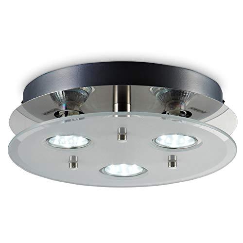 B.K.Licht Plafoniera LED da soffitto, include 3 lampadine GU10 3W 250Lm, luce calda 3000K, lampada moderna da soffitto, lampadario rotondo diametro 25cm, metallo color nickel opaco e vetro, 230V IP20