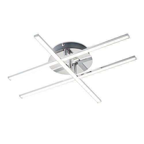 B.K.Licht Plafoniera LED da soffitto, Lampadario moderno e minimalista, luce calda 3000K, 1150 Lm, LED integrati, Lampada da soffitto per camera da letto, soggiorno, sala, colore cromato, IP20