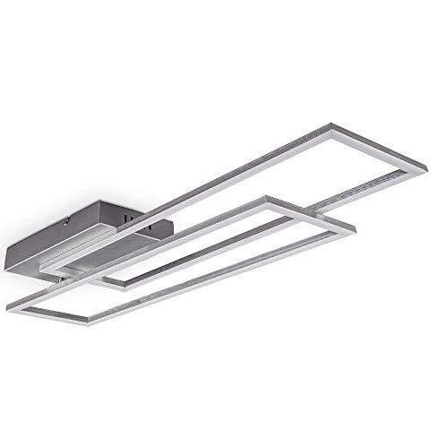 B.K.Licht Plafoniera LED dimmerabile con telecomando, CCT luce calda, neutra, fredda, LED integrati 40W 4400Lm, 1parallelepipedo orientabile, lampadario con timer e funzione luce notturna, 97.7x22x8cm