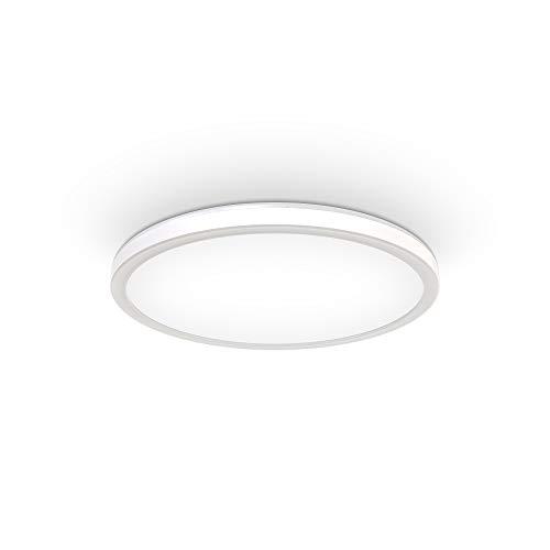 B.K.Licht Plafoniera LED dimmerabile su 3 livelli, 18W, 2400Lm, Luce bianca neutra 4000K, Ultrapiatta, Illuminazione indiretta, Lampada da soffitto con Funzione di memoria, Pannello LED rotondo Ø293mm