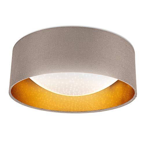 B.K.Licht Plafoniera LED, LED integrati 1200Lm 12W, Luce bianca naturale 4000K, Lampada da soffitto glitterata grigio-talpa e oro, Ø32cm, Lampadario effetto a stelle per camera da letto IP20