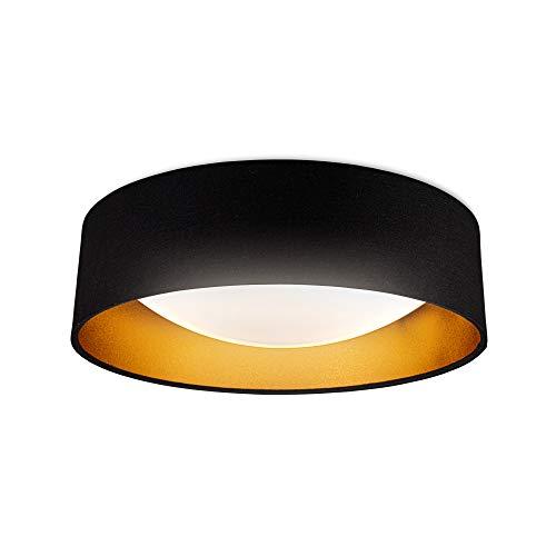 B.K.Licht Plafoniera LED, LED integrati 2200Lm 18W, Luce bianca naturale 4000K, Lampada da soffitto nero e oro, Ø40cm, Lampadario per camera da letto IP20