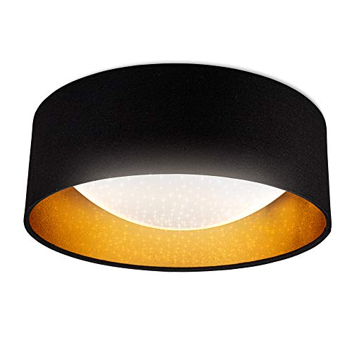 B.K.Licht Plafoniera LED, Luce bianca naturale 4000K, LED integrati 1200Lm 12W, Lampada da soffitto glitterata nero e oro Ø32cm, Lampadario effetto a stelle per soggiorno, sala, salotto, IP20