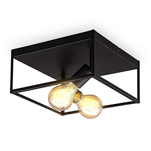 B.K.Licht Plafoniera quadrata con 2 punti luce, attacco per 2 lampadine E27 non incluse, lampada da soffitto in metallo nero opaco, 29x29x14cm