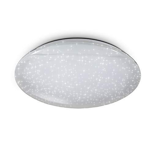 B.K.Licht Plafoniera Smart, App, Amazon Alexa, Google Home, dimmerabile con lo smartphone, luce calda neutra fredda, lampadario Wi-fi, decoro a cielo stellato, Ø50cm, LED integrati 4.000lm 40W