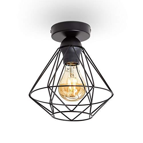 B.K.Licht Plafoniera vintage, adatta per lampadina E27 non inclusa max 40W, filo metallico nero, diametro 22cm, lampadario per salotto o sala da pranzo, lampada da soffitto stile industriale, IP20