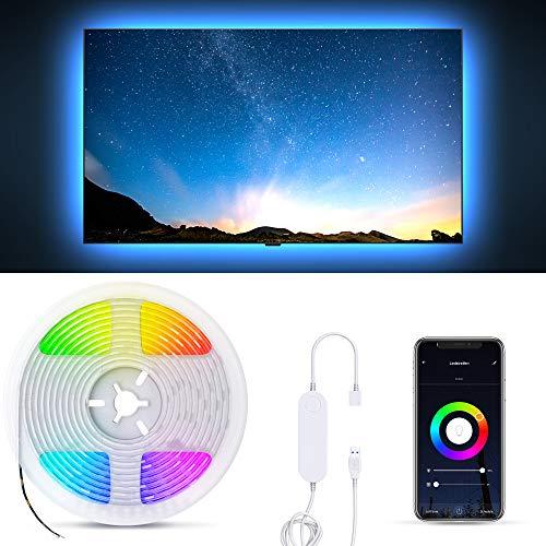 B.K.Licht Striscia LED Smart RGB, 2m, App, Amazon Alexa, Google Home, Wi-Fi, alimentazione USB, cambia colore con lo smartphone, adesiva, accorciabile, controllo vocale, rivestimento in silicone