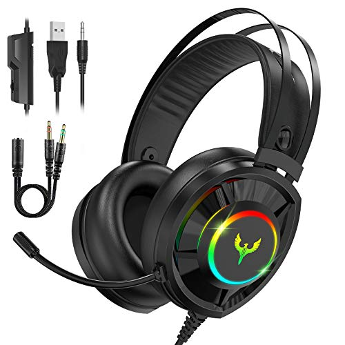 Blade Hawks RGB Cuffie da Gioco, Cuffie Gaming con Audio Surround 7.1, Riduzione del Rumore Cuffie con Microfono Confortevole Bassi Profondi 3,5 mm LED per PC, Laptop, Mac, Smart Phone,PS4