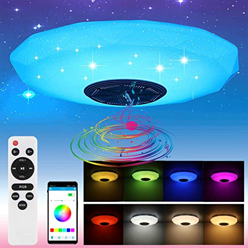 Blingbin - Plafoniera Bluetooth con altoparlante, telecomando, 36 W, cambia colore, lampada da soffitto a LED, per cameretta dei bambini, RGB Colourful, 32 x 32 x 10,5 cm [Classe energetica A +]
