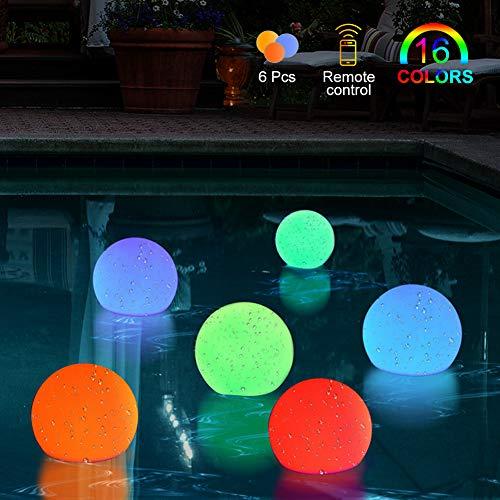 BLOOMWIN Luci Piscina Galleggianti, 6Pcs Luci per Piscina Fuori Terra RGB 16 Colori Luci per Laghetto con Telecomandato Alta Luminosità Luci per Acquario, Giardino, Festa, Natale