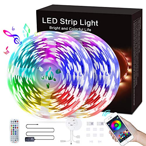 Bluetooth Striscia LED 12m, kdorrku Strisce LED smd 5050 RGB Musicale, Luci di Striscia Luminosa Adesiva 12V con Smart Controllo App e Telecomando per TV, Cucina, Armadio, Festa, Camera, Decorazionic